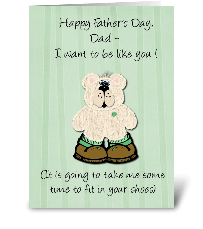 Happy Father's Day Bear in Big Shoes greeting card