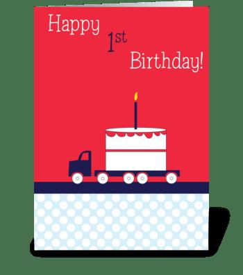 Birthday Truck greeting card