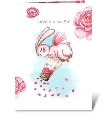 Cute bunny salt with hearts. Watercolor  greeting card