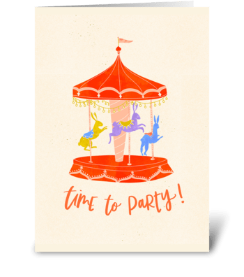 Rabbit Merry-Go-Round Carnival Birthday greeting card