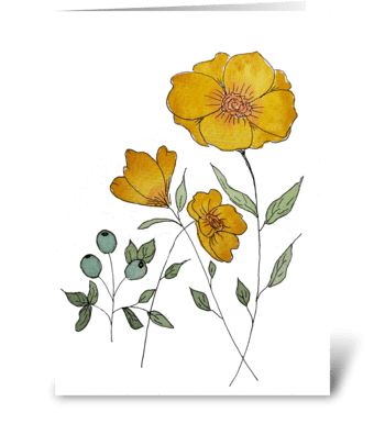 Watercolor & Ink Floral Yellow Cosmos greeting card