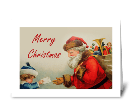 Vintage Christmas Card With Santa greeting card