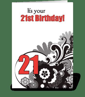 21st Birthday Religious Swirls greeting card