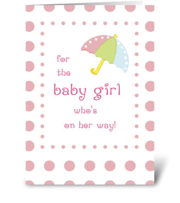 Baby Girl Shower Congratulations greeting card