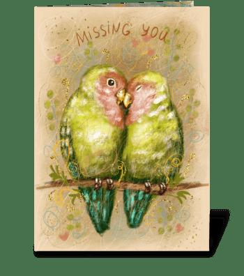 Cute lovebirds parrots greeting card