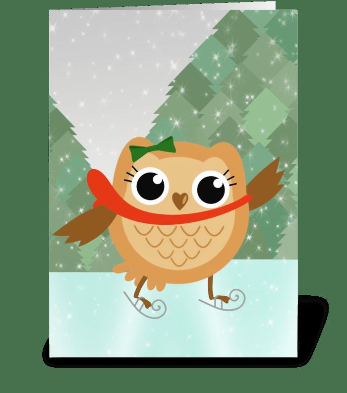 Ice skating owl greeting card