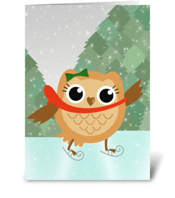 Ice skating owl greeting card