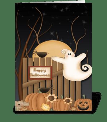 Halloween Ghost Scene greeting card