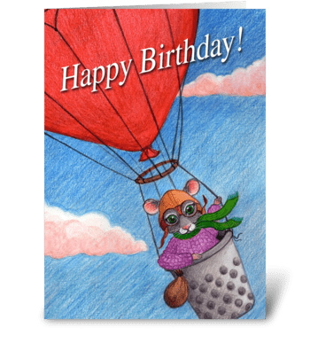 Happy Birthday Aviator Mouse greeting card