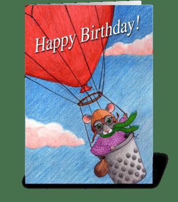 Happy Birthday Aviator Mouse greeting card