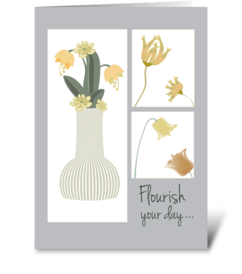 Vase with Florals Asters Tubes and Tulip greeting card