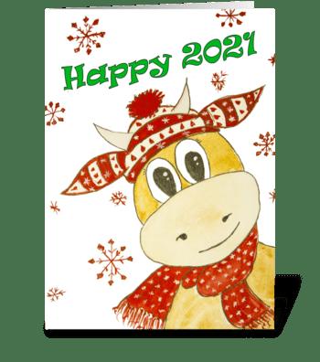 New Year bull greeting card