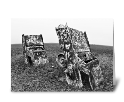 Cadillac Ranch Black & White greeting card