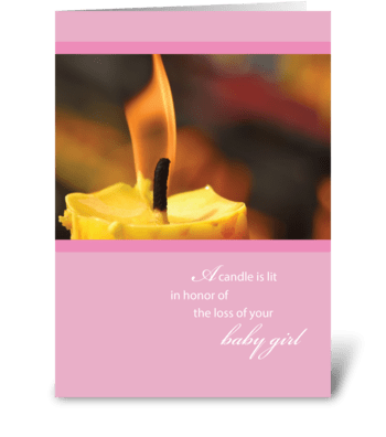 Sympathy, Loss of Baby Girl, Candle greeting card