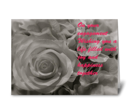 Engagement rose greeting card