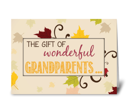 Thanksgiving Gift of Grandparents Fall  greeting card