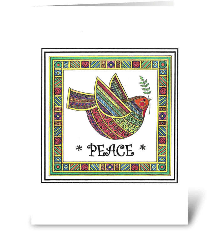 RAINBOW DOVE OF PEACE greeting card