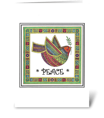 RAINBOW DOVE OF PEACE greeting card