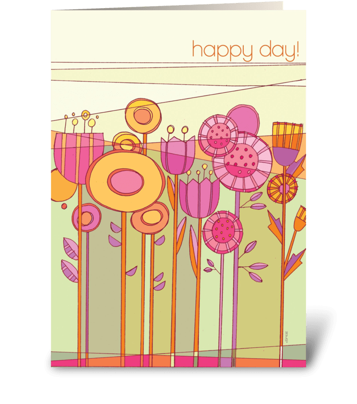 Floral Fetish Happy Day greeting card