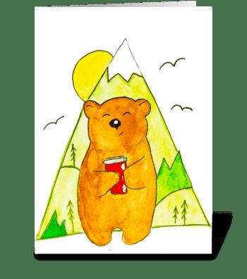 Bear with coffee greeting card