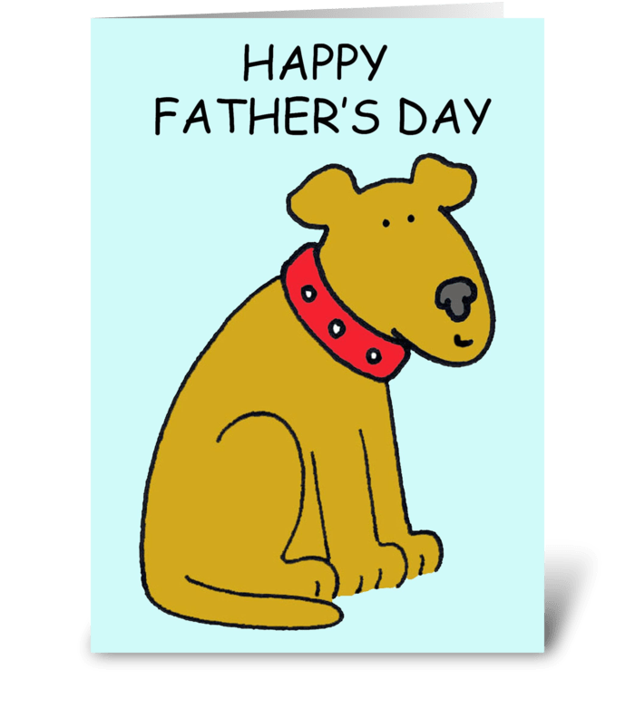 Happy Father's Day cartoon dog. greeting card