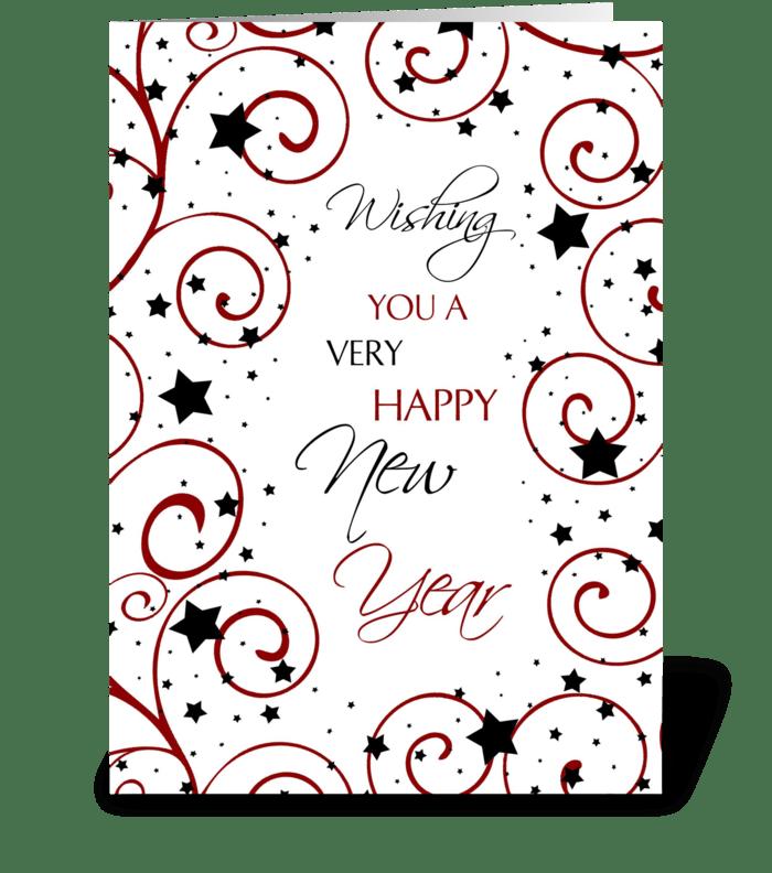 Happy New Year Stars and Swirls greeting card