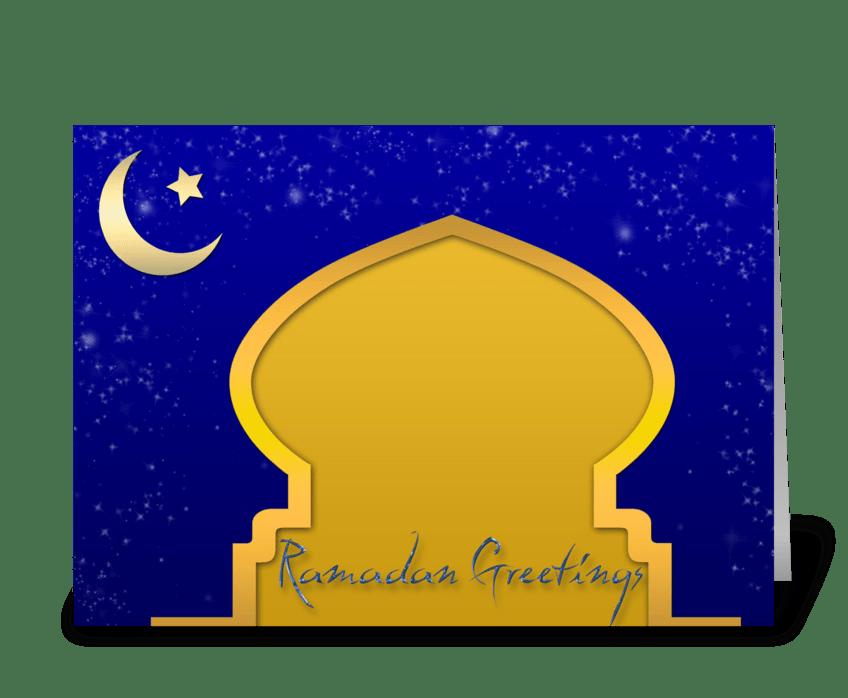 Gold Mosque, Ramadan greeting card