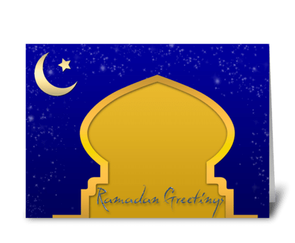 Gold Mosque, Ramadan greeting card
