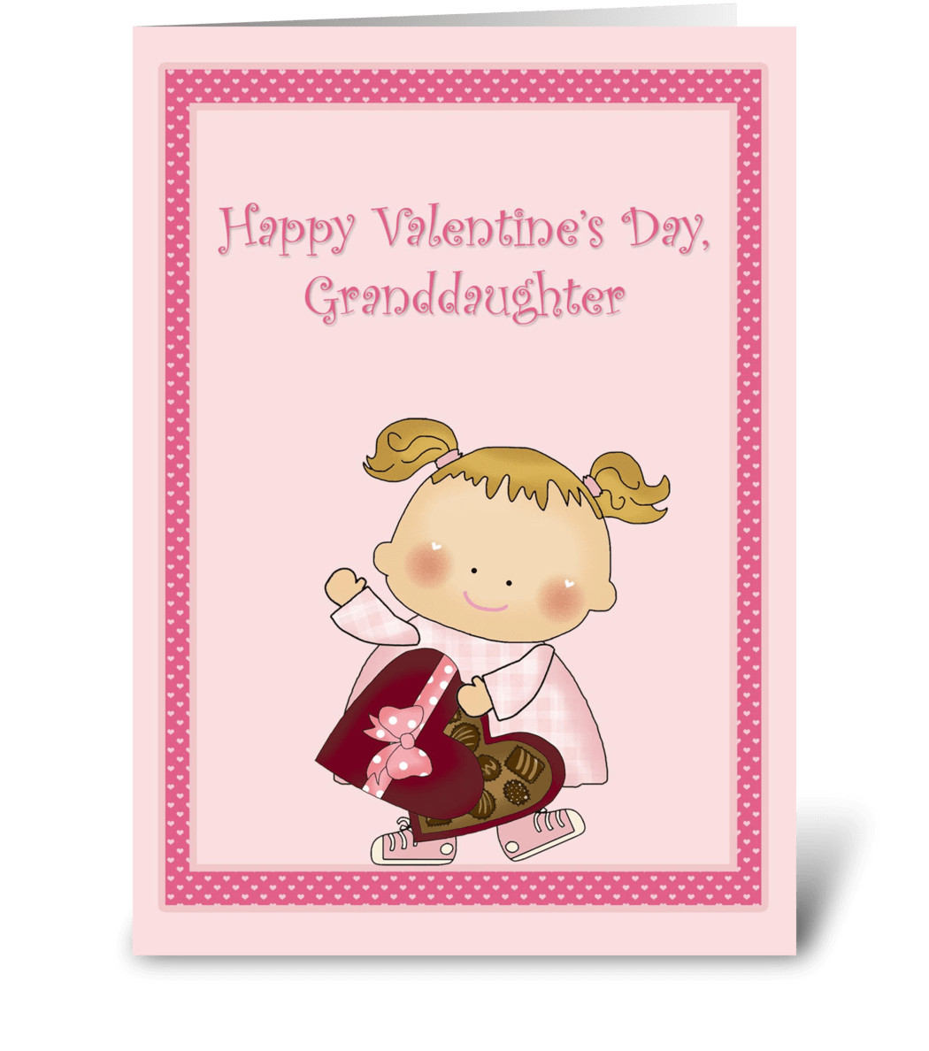 Happy Valentine Granddaughter Heart Box Send This Greeting Card
