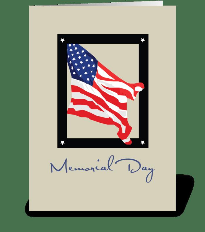 Happy Memorial Day, American Flag, Tan greeting card