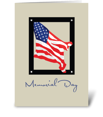 Happy Memorial Day, American Flag, Tan greeting card