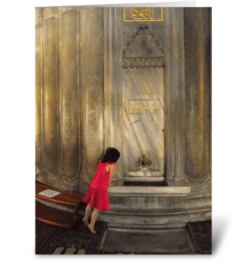 Red Blue Mosque Girl greeting card