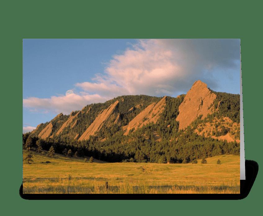 The Boulder Flatirons greeting card