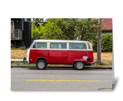 Red and White Volkswagen Van greeting card