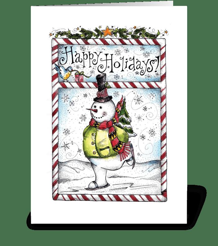 Skating Snowman greeting card