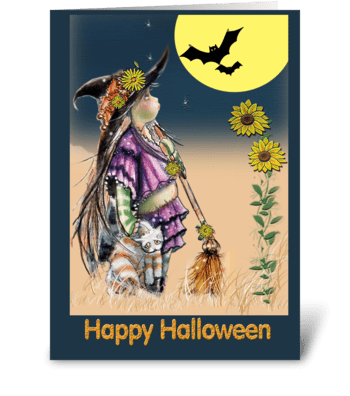 Little Witch & Cat, Halloween ART greeting card
