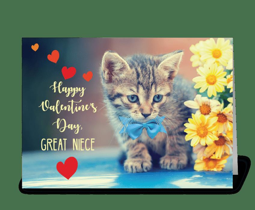 Great Niece Love Valentine Kitten greeting card