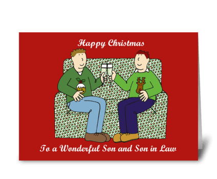 Happy Christmas to Son and Son in Law greeting card