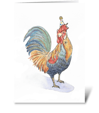 Rooster Party Animal greeting card