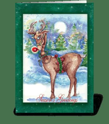 Red Nosed Reindeer Greetings greeting card