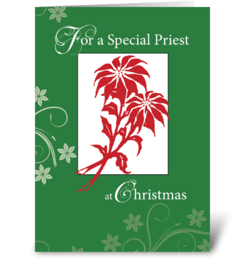 Priest, Christmas Poinsettias greeting card