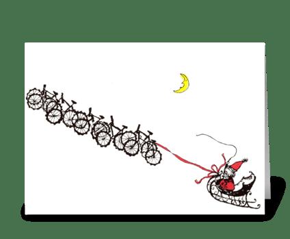 santa bikes greeting card