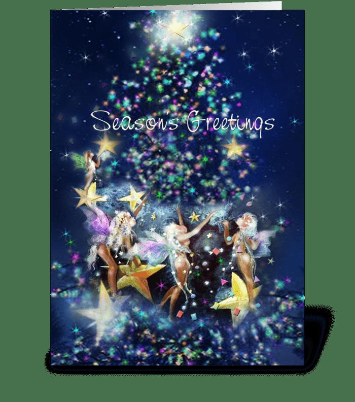Christmas Fairies Tree Lighting greeting card