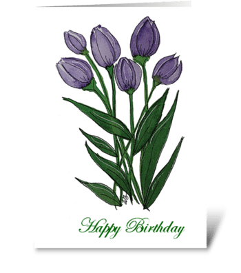 Watercolor Purple Tulip Happy Birthday greeting card