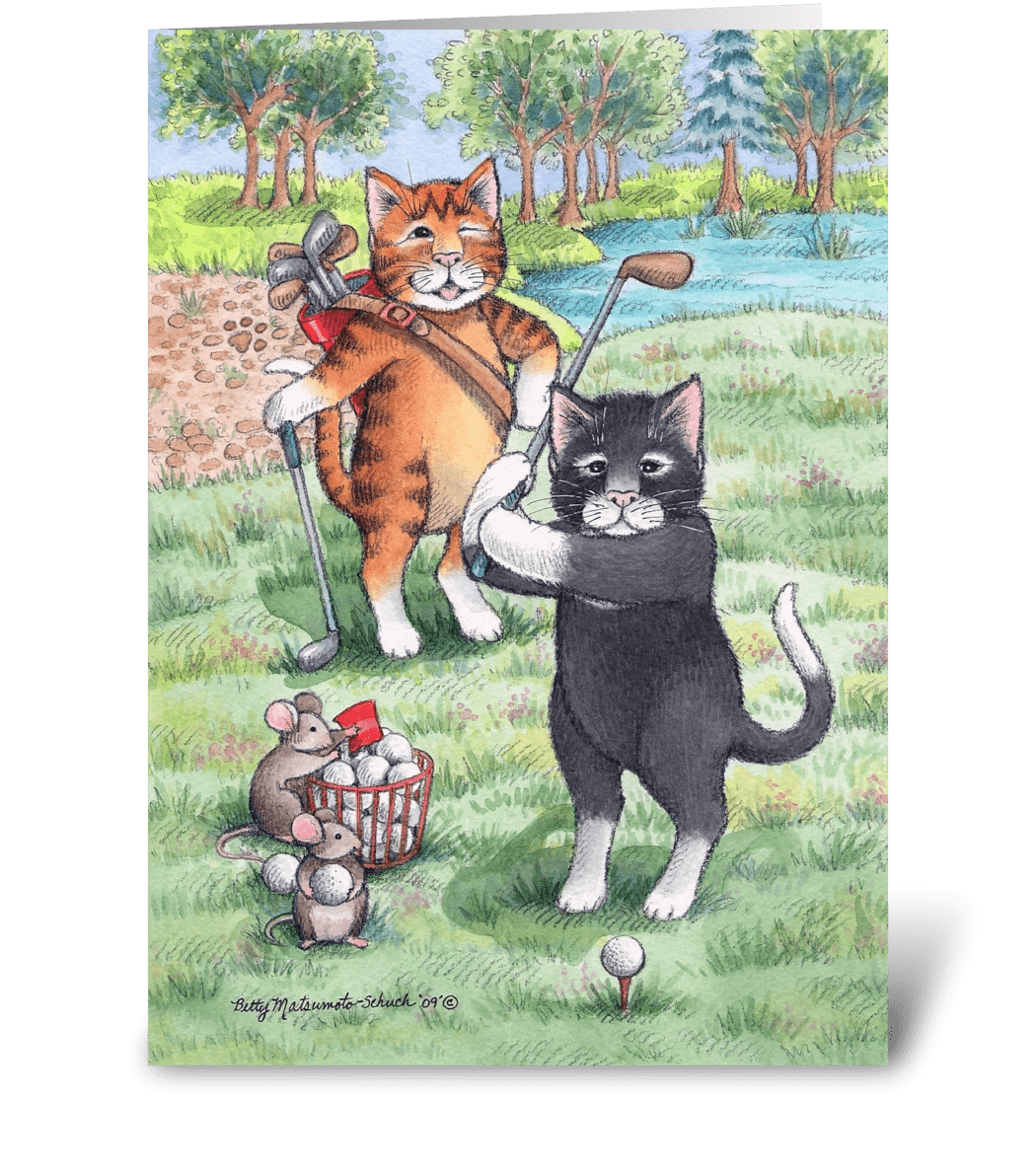 Golfing Cats Happy Birthday Send This Greeting Card Designed Betty Matsumoto Schuch Gnome Png 1050x1188