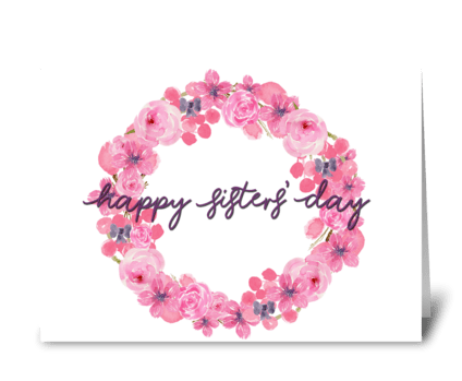 Sisters' Day Pink Wreath greeting card