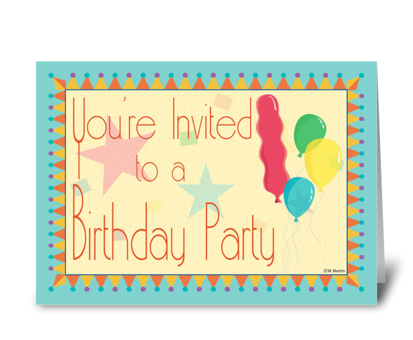 Hats and Balloons Birthday Invite greeting card