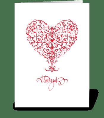 Ribbon Heart, Love greeting card