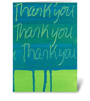 Thank You Painting - Teal on Green greeting card