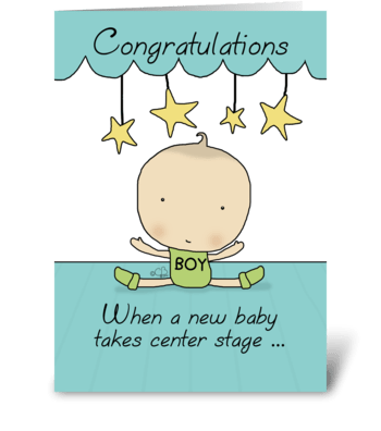 New Baby Boy on Stage-Congratulations  greeting card